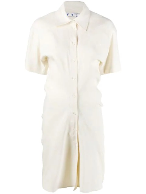 Off-White ruched shirt dress-off white-simple caracters
