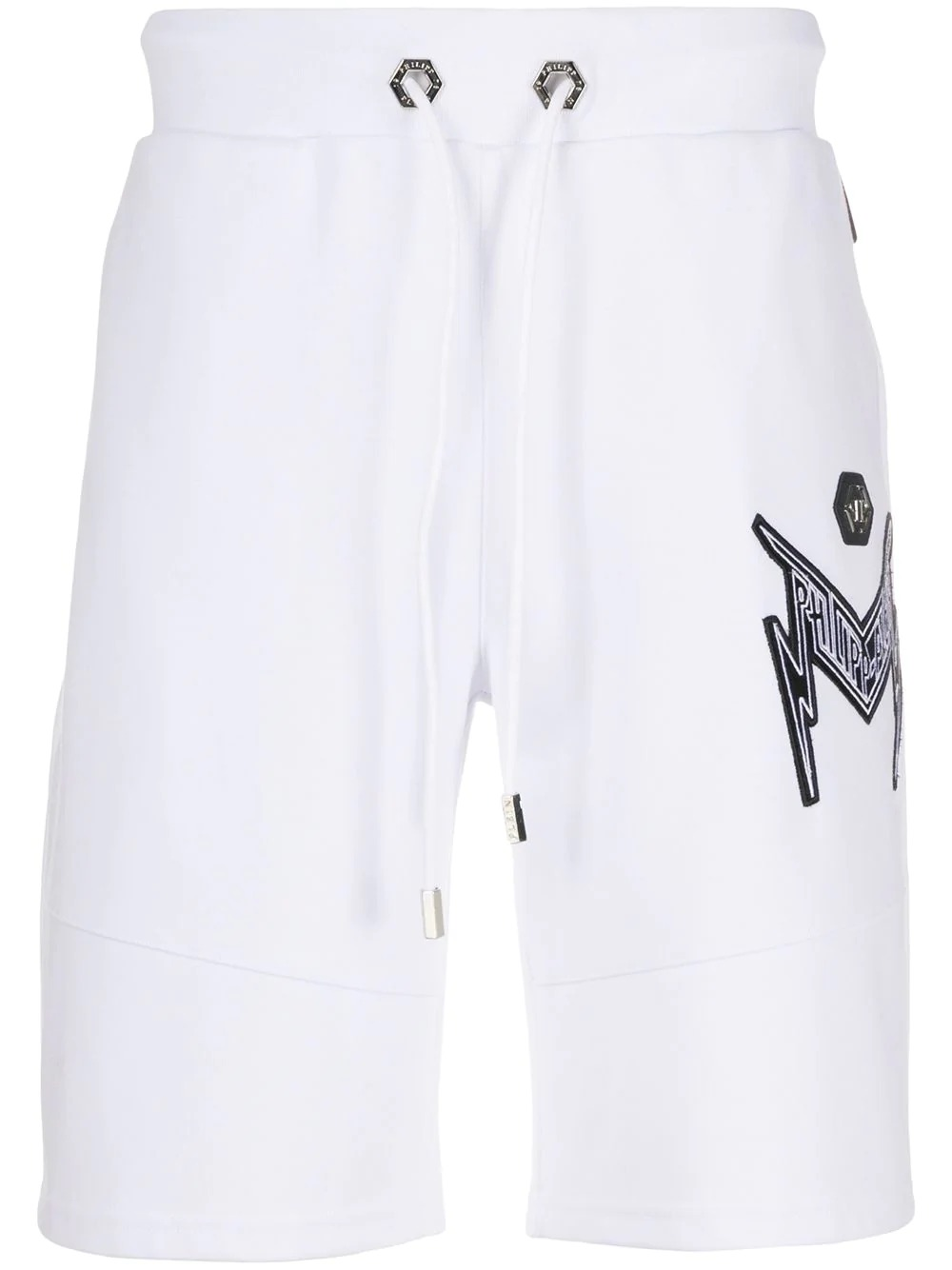 thunder logo embroidered track shorts-philipp plein-simple caracters