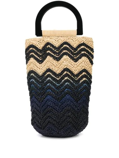 woven style colour block bucket bag-simple caracters-m missoni