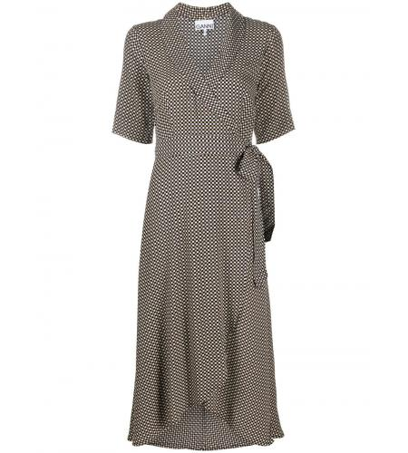 checked wrap midi dress-ganni-simple caracters