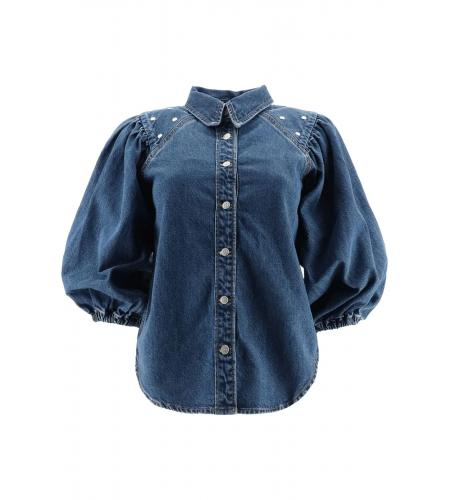 Denim shirt with studs-ganni-simple caracters