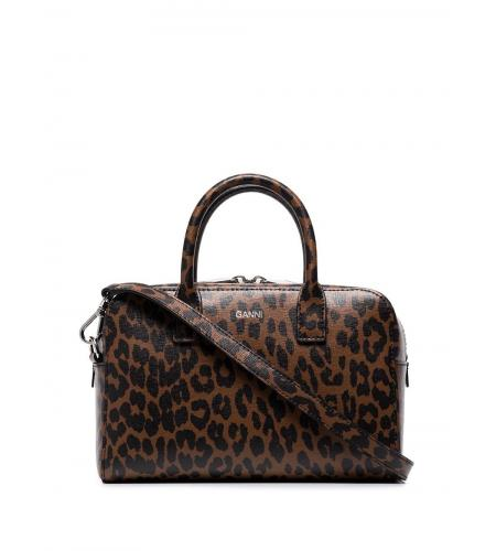 leopard-print leather tote-simple caracters-ganni