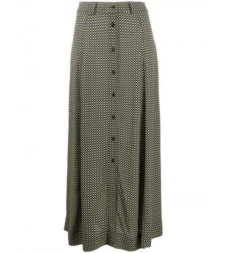check print front buttoned skirt-ganni-simple caracters