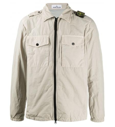 zipped logo patch jacket-simple caracters-stone island
