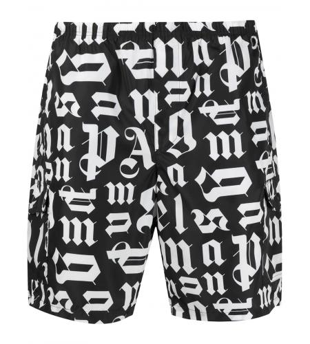 monogram print swim shorts-simple caracters-palm angels