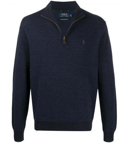 logo embroidered half-zip jumper-simple caracters-polo ralph lauren