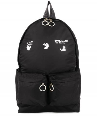logo-print backpack-off-white-simple-caracters