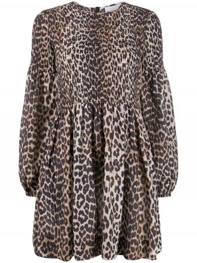 leopard print long-sleeve dress-simple caracters-ganni