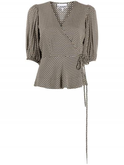 checkered V-neck wrap blouse-ganni-simple caracters