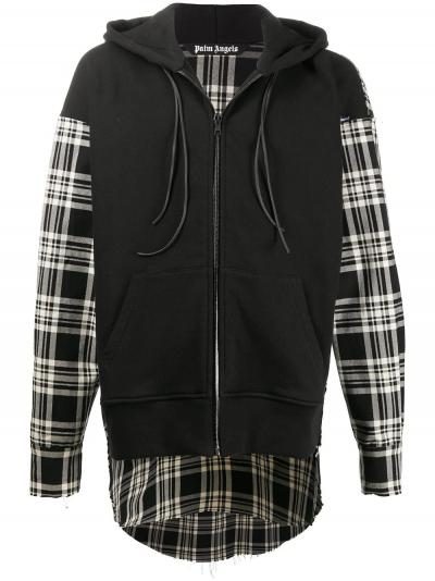 panelled check-pattern hooded coat-simple caracters-palm angels