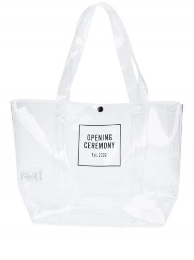 medium Box Logo transparent tote bag-simple caracters-opening ceremony