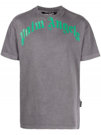 logo-print washed-finish T-shirt-simple caracters-palm angels