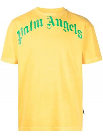 Vintage Washed curved logo tee-simple caracters-palm angels