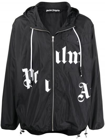 logo print zip-up jacket-simple caracters-palm angels