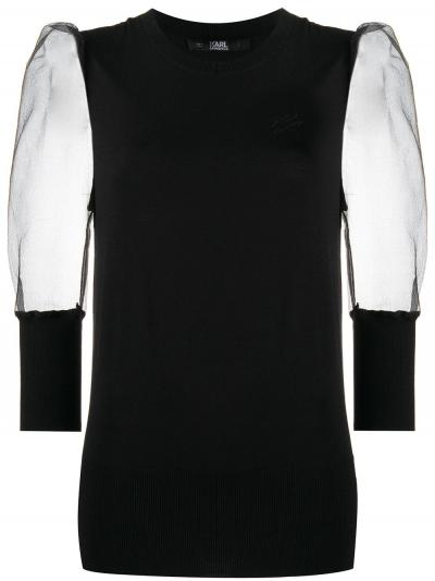 sheer sleeves knitted top-simple caracters-karl lagerfeld